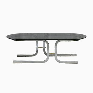 Mid-Century French Chrome & Glass Coffee Table, 1970s