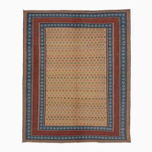 Bestickter Persischer Kilim Teppich in Blau & Rot