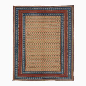 Blue & Red Persian Embroidered Kilim Rug