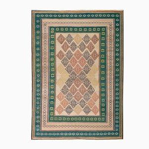 Bestickter Persischer Kilim Teppich in Grün & Rosa