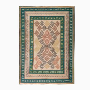 Green & Pink Embroidered Persian Kilim Rug