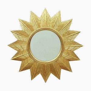 German Golden Starburst Wall Mirror, 1970s