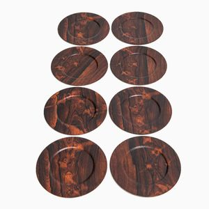 Danish Rosewood Plates, 1950s, Set of 8