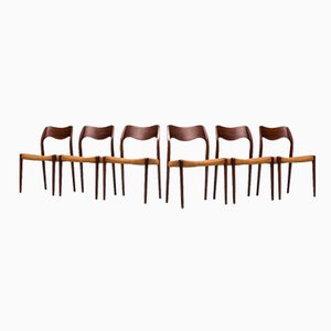 Danish Model 71 Dining Chairs by Niels O. Møller for J.L. Møllers, 1951, Set of 6