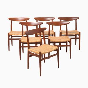 Mid-Century W2 Dining Chairs by Hans J. Wegner for C.M Madsen, Set of 6