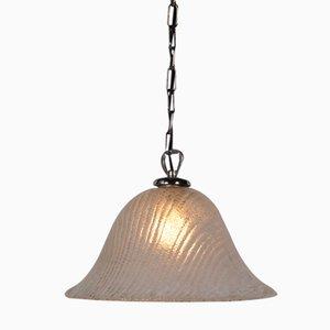 Italian Murano Glass Hanging Lamp with Brass Details, 1960s
