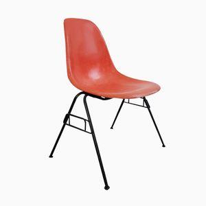 Oranger DSS Kunstfaser Stapelstuhl von Charles & Ray Eames für Herman Miller, 1960er