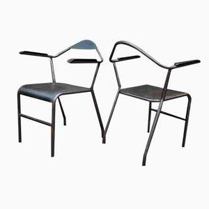 Industrielle Stühle aus Metall und Bakelit, 1950er, 2er Set