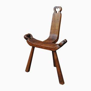 Three Legged Fruitwood Chair, 1960s