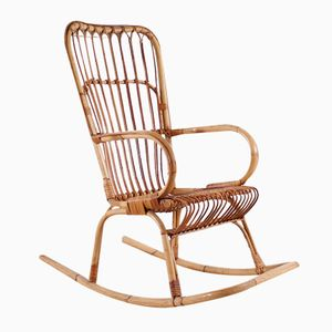 Vintage Bamboo Rocking Chair, 1950s