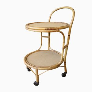 Vintage French Rattan & Bamboo Trolley with Castors, 1950s