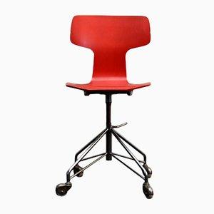 Mid-Century 3103 Schreibtischstuhl in Rot von Arne Jacobsen für Fritz Hansen