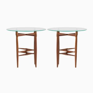 Danish Glass & Mahogany Side Tables by Poul Hundevad, 1950s, Set of 2