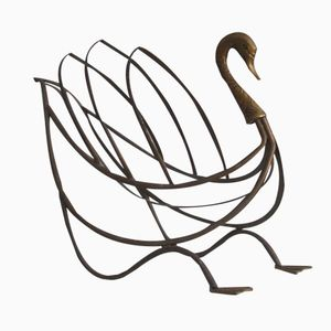 French Brass Swan-Shaped Magazine Rack from Maison Jansen, 1960s