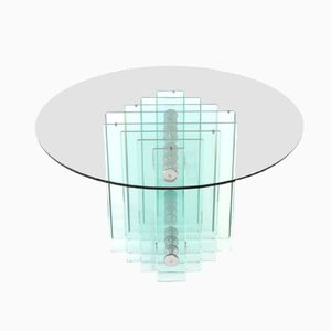 Italian Glass and Chrome Dining Table by Rimadesio, 1970s