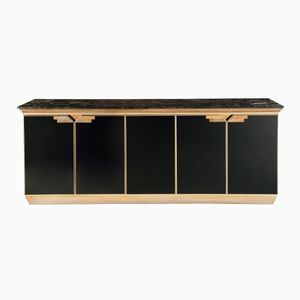 Vintage Marble and Black Lacquered Credenza