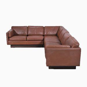 Danish Leather Corner Sofa by Erik Jorgensen for Thams, 1970s