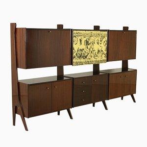 Italian Ebonised Wood Veneer Cabinet, 1960s