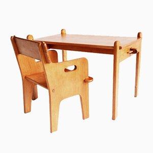Dänischer Peter's Stuhl und Tisch von Hans J. Wegner für Carl Hansen & Sons, 1944