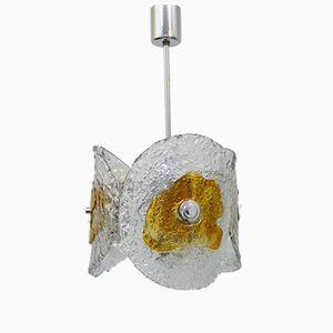 Vintage Hängelampe aus Murano Glas & Verchromtem Metall