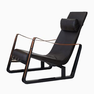 Brown Leather Lounge Chair by Jean Prouvé for Vitra, 1930s