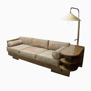 Vintage Corner Sofa with Built-In Lamp by Vlastimil Brožek, 1930s
