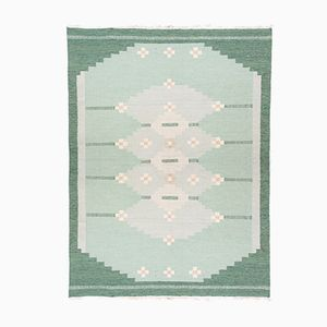 Green Swedish Hand Woven Wool Rolakan Carpet, 1950s