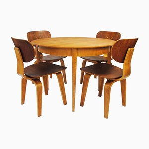 Dutch Birch Plywood and Teak Dining Set by Cees Braakman for Pastoe, 1950s, Set of 5
