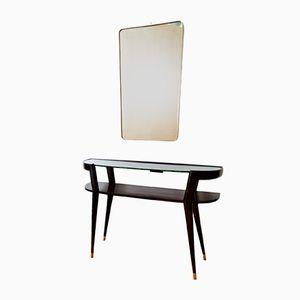 Italienische Mahagoni Konsole und Spiegel mit Messingrahmen, 1950er