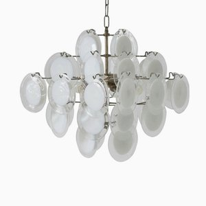 Italian Murano White and Clear Glass Chandelier from Vistosi, 1970s
