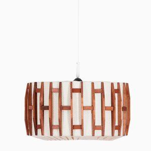 Mid-Century Modern Danish Teak & Fabric Pendant Lamp, 1970s