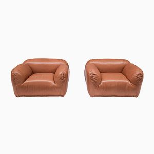 Italian Thick Leather Armchairs, 1960s, Set of 2