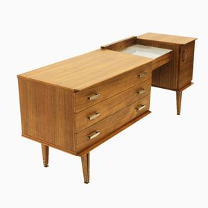 Italian Dressing Table with Glass Top, 1950s