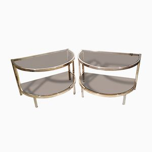 French Chromed Metal & Glass Side Tables, 1970s, Set of 2