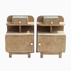 Vintage French Art Deco Stripped Oak Side Cabinets, Set of 2
