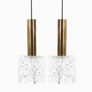 Glass & Brass Pendant Lamps by Carl Fagerlund for Orrefors, 1960s, Set of 2