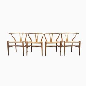 Dänische Mid-Century CH24 Wishbone Stühle von Hans J. Wegner für Carl Hansen & Søn, 4er Set