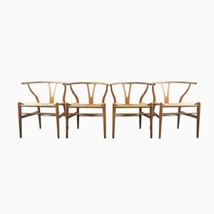 Mid-Century Danish CH24 Wishbone Chairs by Hans J. Wegner for Carl Hansen & Søn, Set of 4