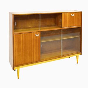 Mid-Century British Teak & Glass Bookcase