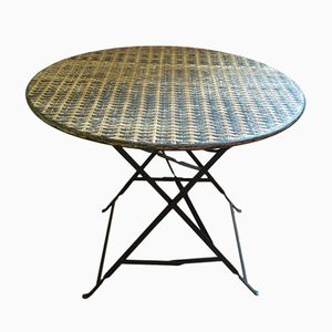 Foldable Mid-Century Bamboo & Iron Garden Table