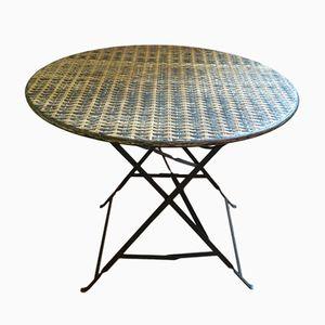 Table de Jardin Pliable Mid-Century en Bambou et en Fer