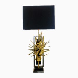 Gold and Black Brutalist Table Lamp, 1970s