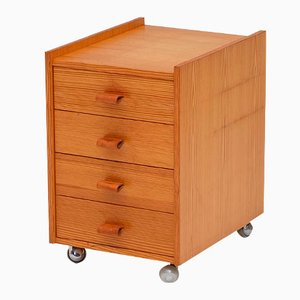Small Pine Chest of Drawers on Wheels, 1970s