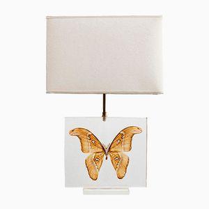 Französische Methacrylate Tischlampe mit Schmetterling, 1980er