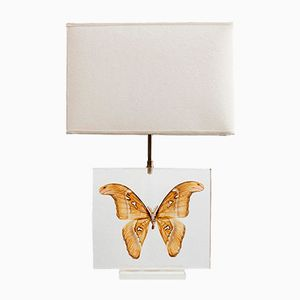 French Methacrylate Table Lamp with Butterfly, 1980s