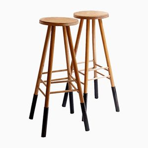 French Wood & Metal Tall Side Tables, 1950s, Set of 2