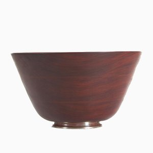 Mid-Century Danish Teak Bowl with Silver Base, 1960s