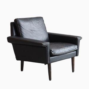 Black Danish Leather Lounge Chair, 1960s