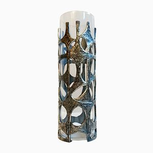 Italian Brutalist Cylindrical Glass Vase