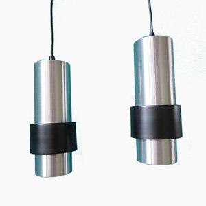 Mid-Century Brushed Aluminum Pendants by J.J M. Hoogervorst for Anvia, 1960s, Set of 2